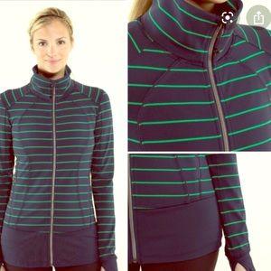 Lululemon zipup stretch jacket Navy/green stripe